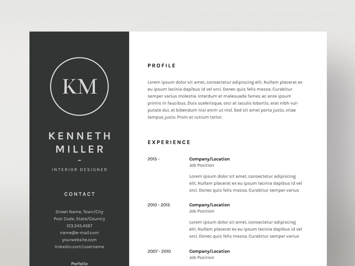 Kenneth Miller - Resume/CV Template ~ Resume Templates ~ Creative Market
