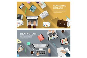 Marketing research and creative team