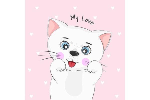 Cute Cartoon Cat Pre Designed Vector Graphics Creative Market
