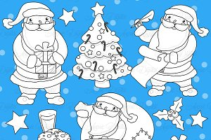 Christmas Santa Digital Stamps