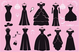 Silhouette of black party dresses