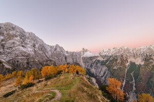 Beautiful autumn panorama in Alps