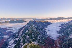 Beautiful autumn panorama in Alps