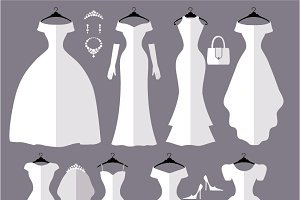 Wedding dresses flat silhouettes set