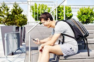 Guy using smartphone
