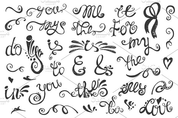 Hand writing Catchwords,ampersands