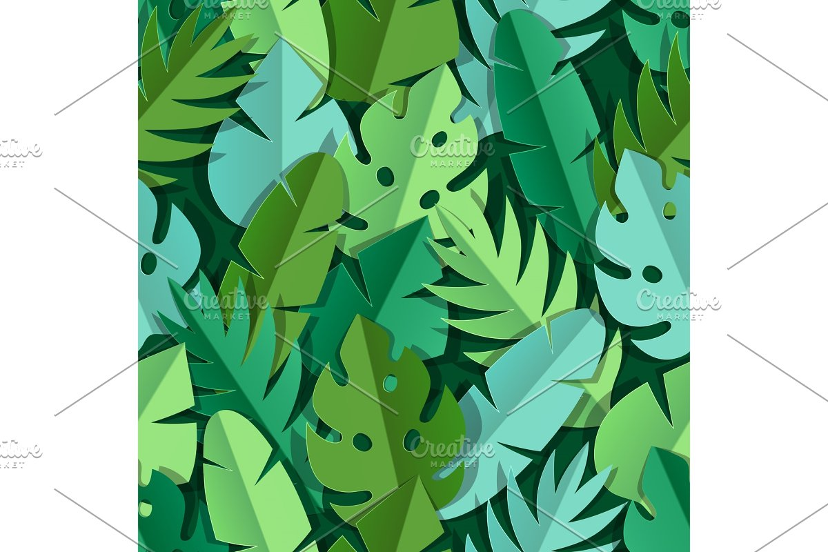 Seamless pattern with paper palm
