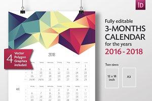 3-Months-Calendar Template 2016-2018