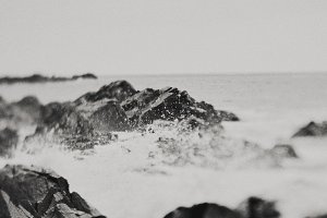 Black and White Ocean Stock Photo