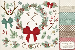 Rustic Pine Christmas Vectors