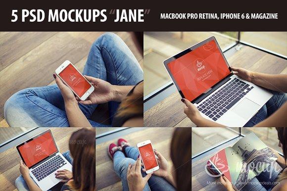 Download 5 PSD Premium Mockups Jane