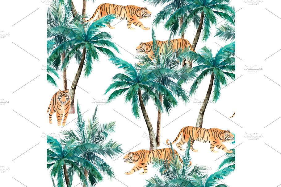 Watercolor Pattern With Tigers