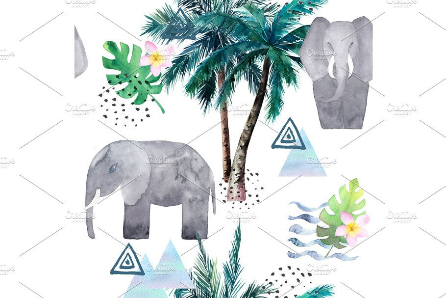 Watercolor Pattern With Elephant