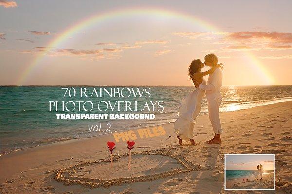 70 Realistic Rainbow Overlays