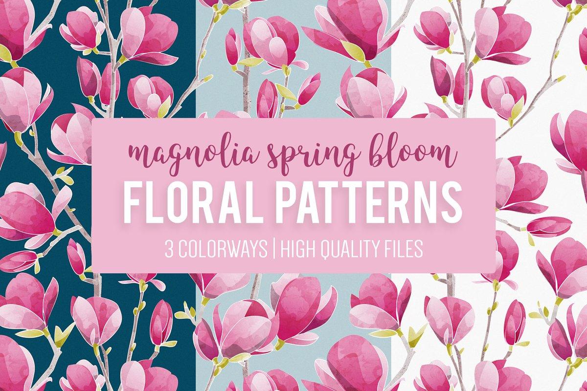 Magnolia Spring seamless patterns