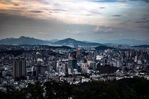 Seoul City Skyline at Sunset