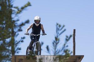 BMX biker ready to jump