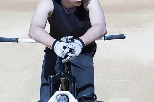 BMX biker resting