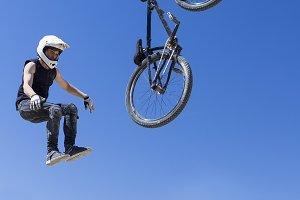BMX rider falling down