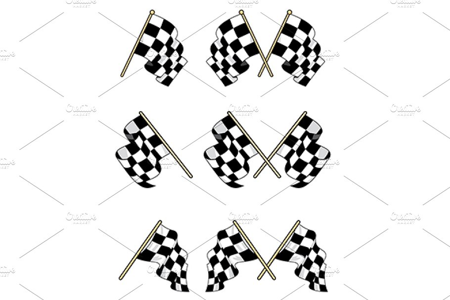 Checkered flags set in Graphics - product preview 8