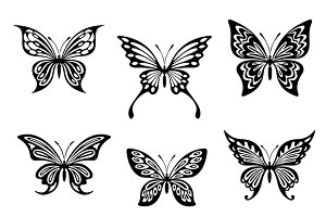 Black butterfly tattoos and silhouet