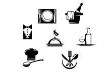 Restaurant icons and menu elements