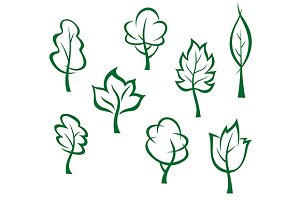 Icons and symbols of green trees