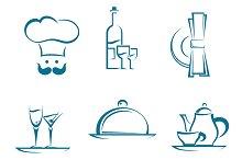 Restaurant icons and symbols