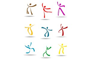Dancing peoples pictograms