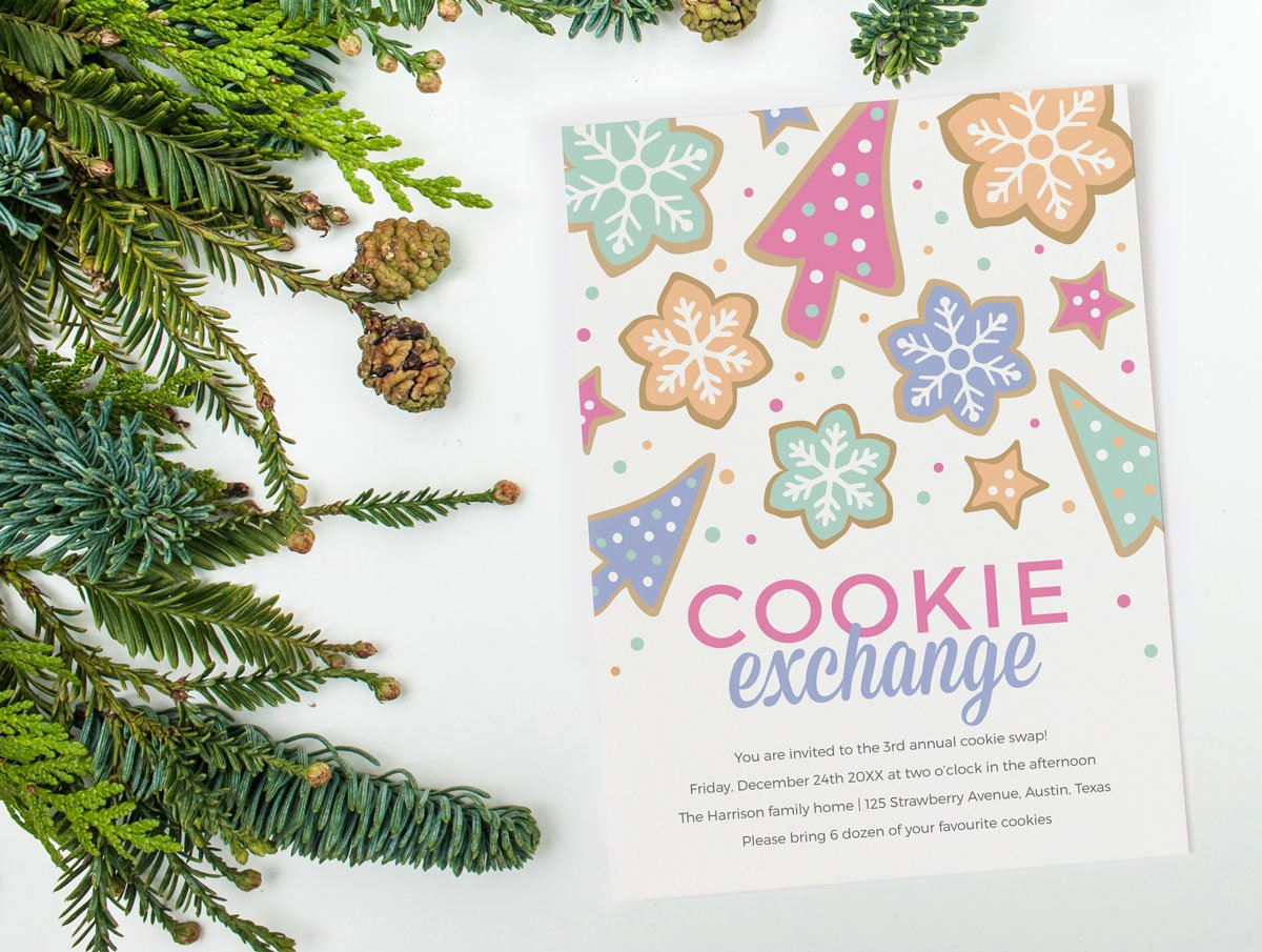 60 printable greeting cards invites gift tags for all your cookie exchange invitation template
