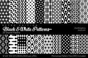 Black And White Retro Digital Papers