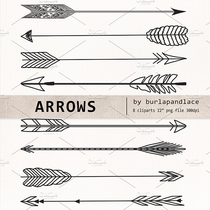Drawing Lines With Arrows In Photo : Hand drawn clipart arrows illustrations creative market