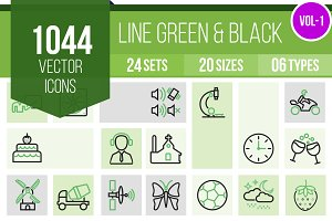 1000+ Line Green & Black Icons (V1)