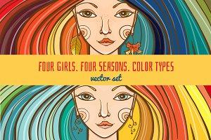 Vector set: 4 girls - 4 seasons.