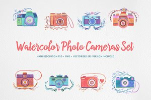 Watercolor Photo Cameras Set