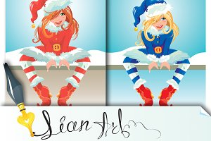 2 girls wearing Santa Claus costume.