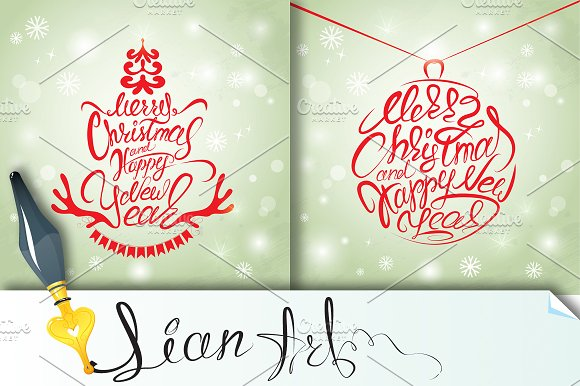 Set of 2 Christmas and New Year card