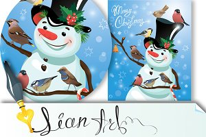 Card with funny snowman and birds