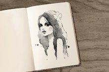 Romantic girl. Watercolor