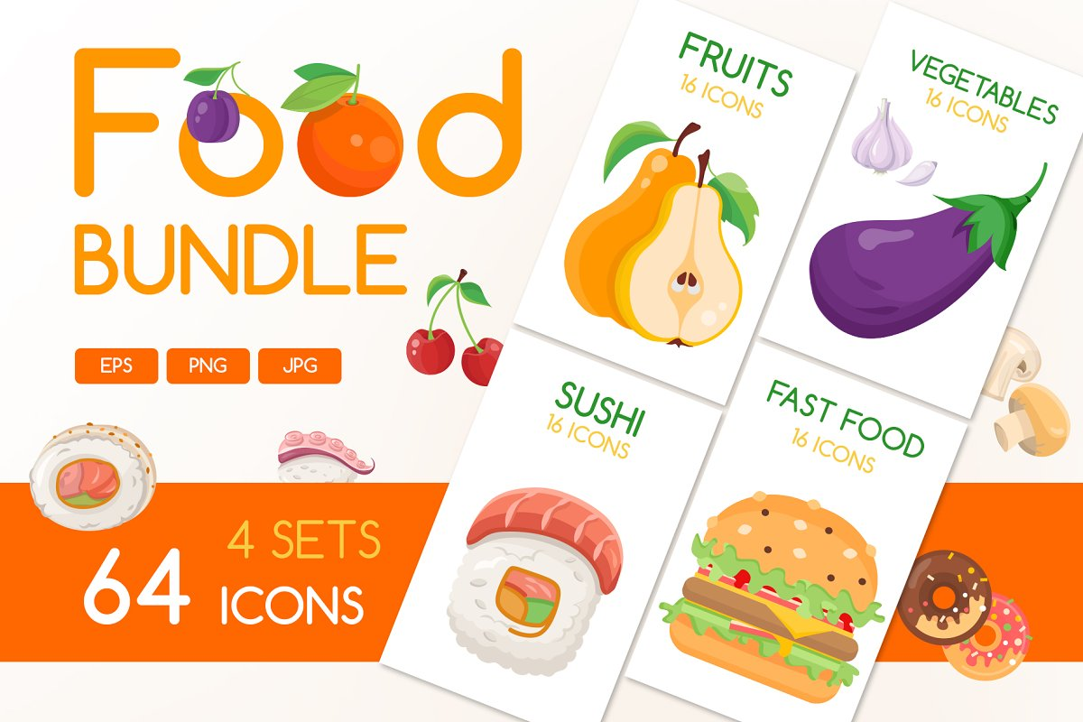 Flat Design Food Icons Collection in Japanese Icons