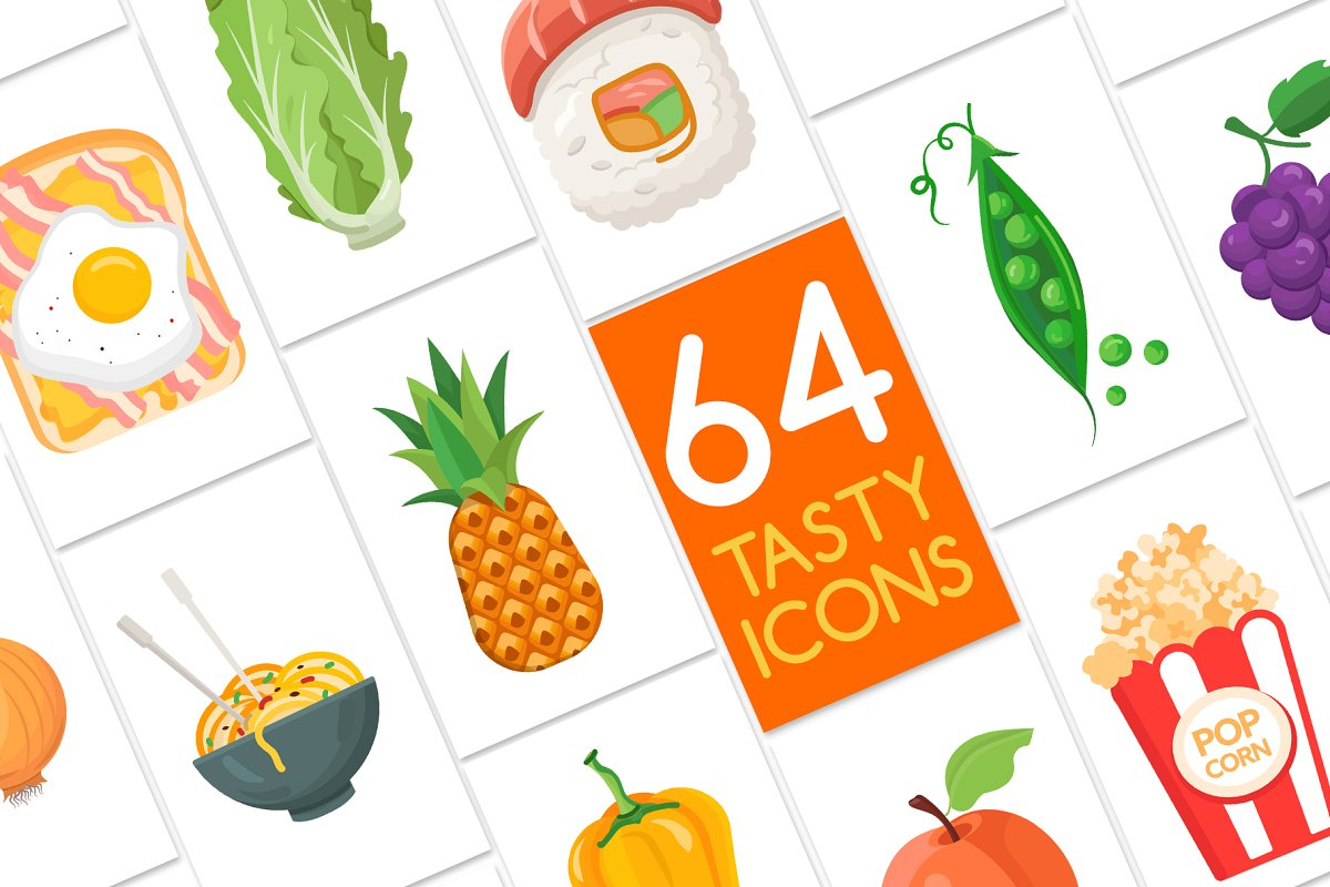 Flat Design Food Icons Collection in Japanese Icons - product preview 1