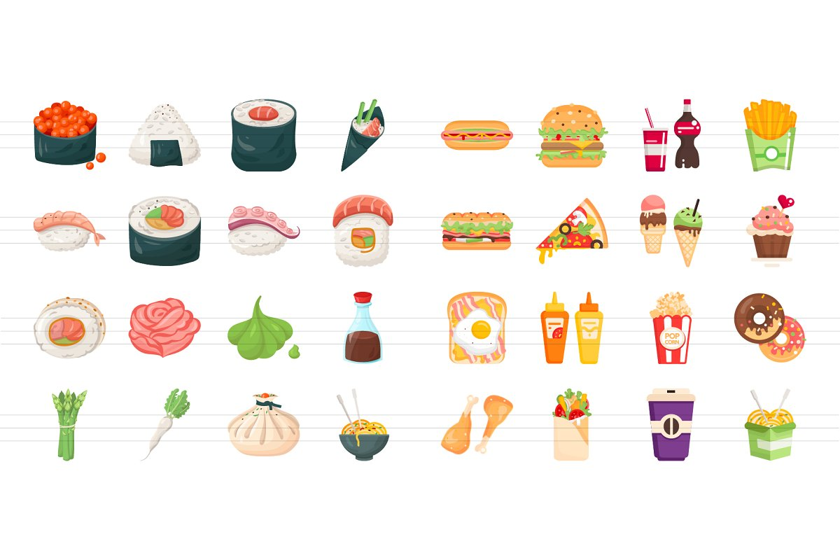 Flat Design Food Icons Collection in Japanese Icons - product preview 7
