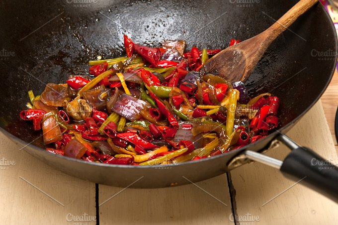 fried chili pepper and vegetables 001.jpg - Food & Drink