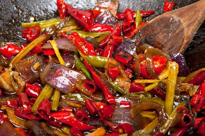 fried chili pepper and vegetables 004.jpg - Food & Drink