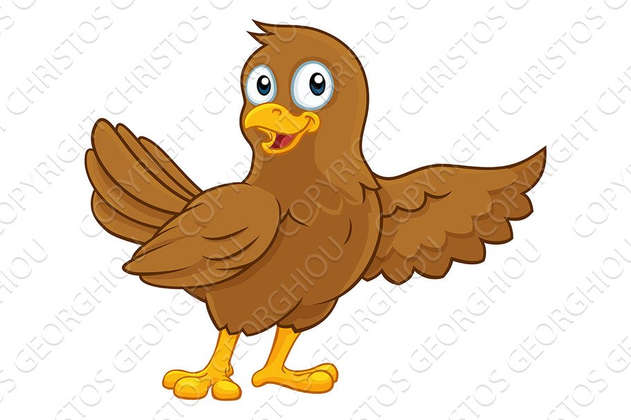 Cute Bird Pointing Cartoon Character