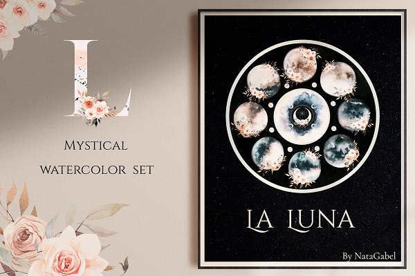 LA LUNA. mystical watercolor set