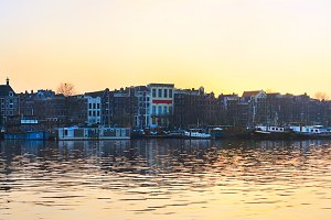 Panorama of Amsterdam old town