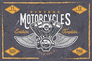 Vintage motorcycle emblem templates