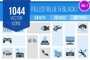 1000+ Filled Blue & Black Icons (V1)