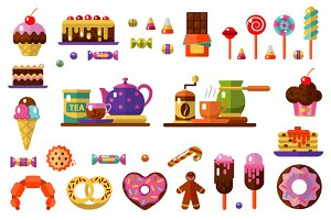 Dessert icons Set. Coffe & Tea Party